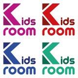 Stanza colourful dei bambini di logo di vettore Fonte allegra luminosa Simboli divertenti per i bambini illustrazione vettoriale