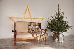 Stanza con l'albero di abete e del sofà, casa Fotografia Stock