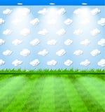 Stanza con le nubi sulla carta da parati Immagini Stock