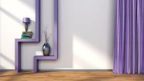Stanza con le tende porpora e scaffale con la lampada illustrazione 3D Fotografie Stock Libere da Diritti