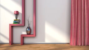 Stanza con le tende rosse e scaffale con la lampada illustrazione 3D Immagine Stock