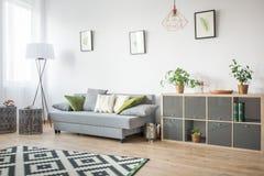 Stanza con lo scaffale ed il sofà fotografie stock