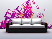 Stanza con un sofà royalty illustrazione gratis