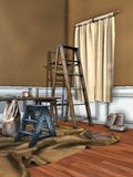 Stanza con una finestra coperta per dipingere Fotografie Stock