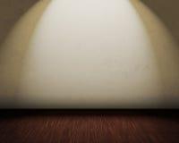 Stanza con una parete bianca e un pavimento di legno Immagini Stock