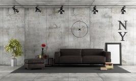 Stanza concreta con il sofà di cuoio Fotografie Stock Libere da Diritti