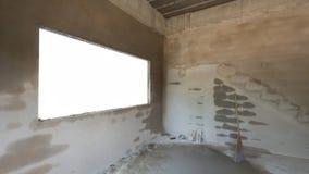 Stanza concreta del cemento vuoto nei lavori di costruzione immagini stock libere da diritti