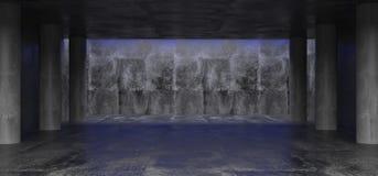 Stanza concreta di lerciume scuro con le colonne concrete e lo spazio vuoto royalty illustrazione gratis