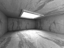 Stanza concreta scura vuota con plafoniera Immagini Stock Libere da Diritti