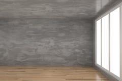 Stanza concreta vuota con il pavimento di legno del parquet nella rappresentazione 3D Immagine Stock