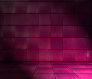 Stanza coperta di tegoli rosso magenta Immagine Stock