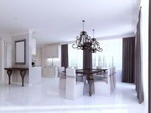 Stanza cucina-pranzante bianca classica nello stile dell'art deco illustrazione di stock