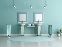 Stanza da bagno blu e verde Fotografia Stock