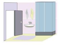 Stanza da bagno con un acquazzone Fotografie Stock