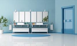 Stanza da bagno contemporanea blu illustrazione vettoriale