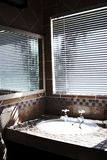 Stanza da bagno moderna con i ciechi sopra Fotografia Stock Libera da Diritti