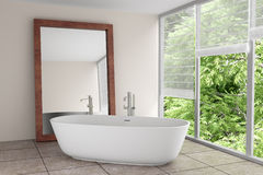 Stanza da bagno moderna con il grande specchio Fotografie Stock