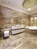 Stanza da bagno moderna con la Jacuzzi Fotografia Stock Libera da Diritti