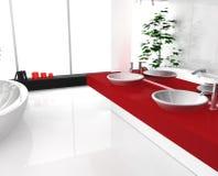 Stanza da bagno rossa lussuosa Immagini Stock