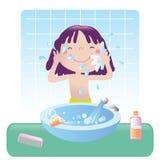 Stanza da bagno sveglia della ragazza Fotografia Stock Libera da Diritti