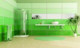 Stanza da bagno verde moderna Immagini Stock Libere da Diritti