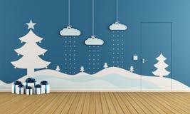 Giochi Di Decorazioni Stanze Gratis : Stanza blu vuota con il pavimento di parquet bianco illustrazione