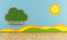 Stanza dei giochi con la lavagna della nuvola Fotografia Stock