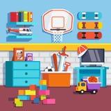 Stanza dei ragazzi con i giocattoli, pattini, anello di pallacanestro illustrazione di stock