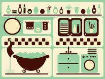 Stanza del bagno ed oggetti di bagno impostati. Fotografie Stock