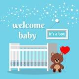 Stanza del bambino con il letto bianco, il segno, le stelle, l'orsacchiotto marrone con impulso rosso e le parole illustrazione di stock