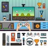 Stanza del Gamer con gli aggeggi Fotografia Stock Libera da Diritti