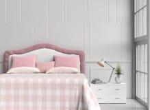 stanza del letto nel giorno felice Fotografie Stock Libere da Diritti
