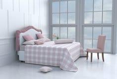 stanza del letto nel giorno felice Immagini Stock Libere da Diritti