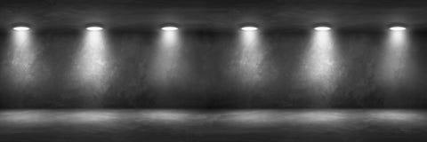 Stanza del muro di cemento con l'interno vuoto del garage del pavimento fotografia stock