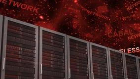 Stanza del server con le parole rosse stock footage