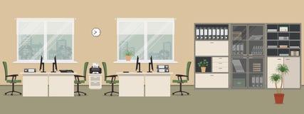 Stanza dell'ufficio in un colore beige Immagini Stock Libere da Diritti
