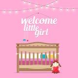 Stanza della neonata con il letto e le parole illustrazione vettoriale