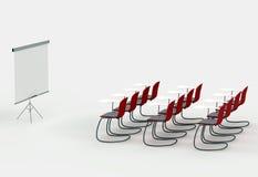 Stanza di addestramento con la scheda e le presidenze dell'indicatore Immagine Stock