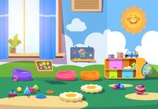 Stanza di asilo Stanza vuota di playschool con i giocattoli e la mobilia Scherza l'interno di vettore del fumetto della stanza de illustrazione di stock