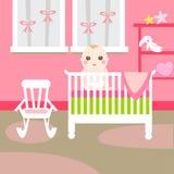 Stanza di colore rosa di bambino Fotografie Stock