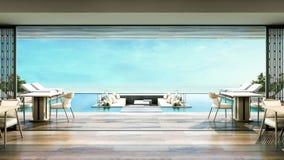 stanza di Dinning della villa della spiaggia della rappresentazione 3D Immagine Stock Libera da Diritti