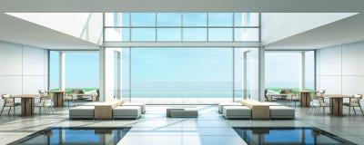 stanza di Dinning della villa della spiaggia della rappresentazione 3D Fotografie Stock
