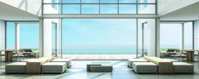 stanza di Dinning della villa della spiaggia della rappresentazione 3D Fotografia Stock Libera da Diritti