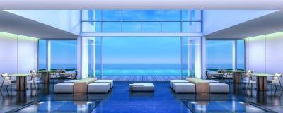 stanza di Dinning della villa della spiaggia della rappresentazione 3D Immagini Stock Libere da Diritti
