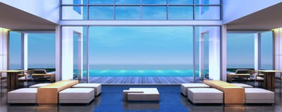 stanza di Dinning della villa della spiaggia della rappresentazione 3D Fotografia Stock