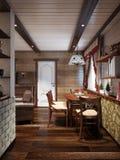 Stanza di Farmhouse Living dell'artigiano e ro rustici tradizionali pranzare Royalty Illustrazione gratis