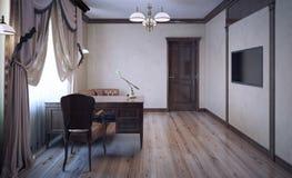 Stanza di lavoro con la mobilia della quercia Immagini Stock