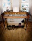Stanza di musica con l'organo fotografie stock libere da diritti