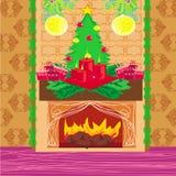 Stanza di Natale con il camino Fotografia Stock
