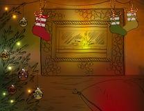 Stanza di Natale con il camino e l'albero di Natale Immagini Stock